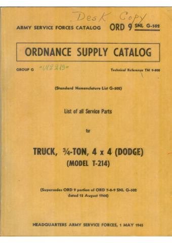Truck, ¾ - ton, 4x4 (Dodge) (Model T-214) - TM 9-808