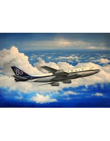 Aviation Art Painting OLYMPIC AIRWAYS BOEING 747 - Canvas print 50 X 37.5 cm.