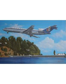 Aviation Art Painting ''Olympic Airways Boeing 727'' - Canvas print 35 X 23 cm.
