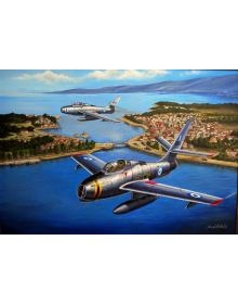 Aviation Art Painting ''Greek Thundersteaks'' - Canvas print 50 X 37.5 cm.