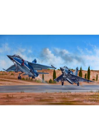 Aviation Art Painting ''Mirage F.1 & M2000'' - Canvas print 50 X 37.5 cm.