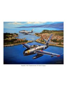 Aviation Art Painting GREEK F-84F THUNDERSTREAKS - medium size print